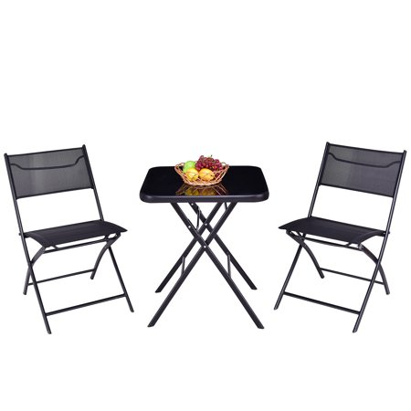 Gymax Folding 3PC Set Square Table And Chair Garden Outdoor Patio ()