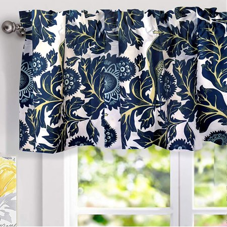 DriftAway Bird Tree Floral Flower/Leaf Lined Thermal Insulated Energy Saving Window Curtain Valance for Living Room Bedroom Kitchen, 2 Layer, Rod Pocket, 52