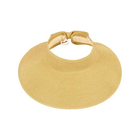 Women's Roll Up Wide Brim Straw Sun Hat Visor - Straw Sun Hats
