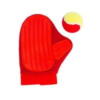 Under Doggie NY GLV7003 Dog & Cat Grooming Pet Gloves, Deshedding & Massaging Tool for Short & Long Fur Hair, Red