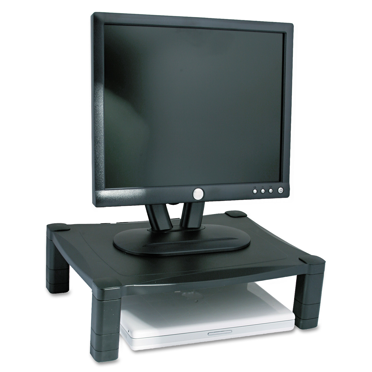 Kantek Single Level Height-Adjustable Stand, 17 x 13 1/4 x 3 to 6 1/2, Black