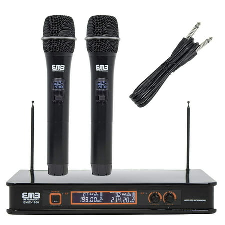 Emb Pocket - Genuine EMB VHF EMIC1600 Professional Dual Wireless Microphone System For Stage/DJ Performance/Meeting / Show/Party / Teaching/Presentation