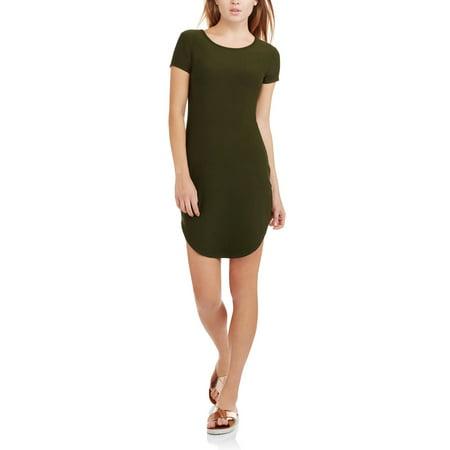 46808d2b674 No Boundaries - Juniors  Short Sleeve Tunic T-Shirt Dress - Walmart.com