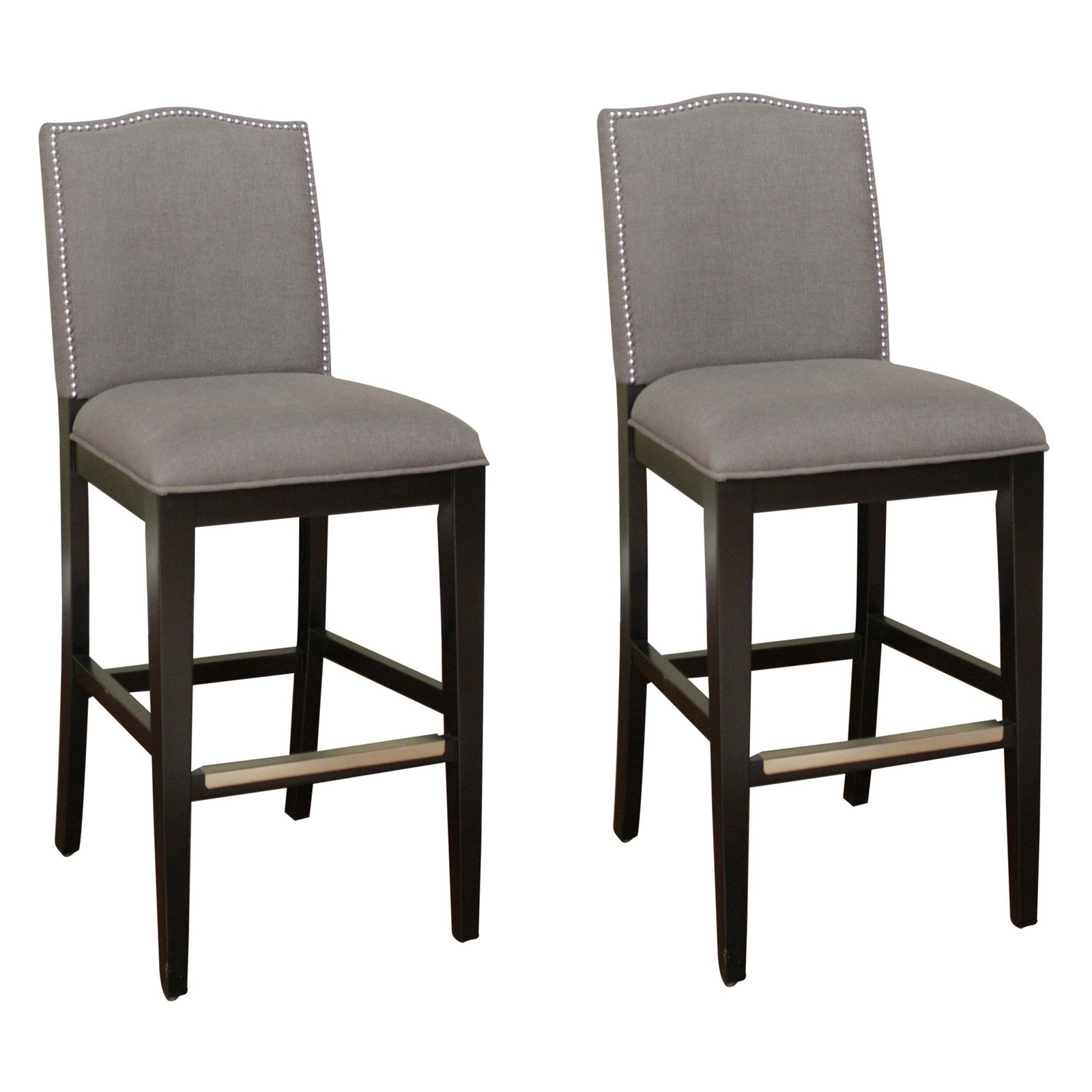 AHB Chase Bar Stool Black with Smoke Linen Upholstery Set of 2 Walmart
