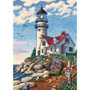 "Dimensions Gold Collection Petite ""Beacon At Rocky Point"" Counted Cross Stitch Kit, 5"" x 7"""