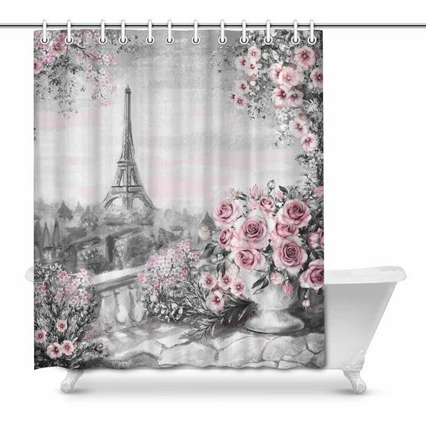 Mkhert Summer Paris City Landscape Eiffel Tower And Roses Painting Waterproof Shower Curtain Decor Fabric Bathroom Set 66x72 Inch Walmart Com Walmart Com