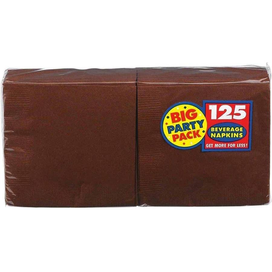 Chocolate Brown Big Party Pack, Beverage Napkins, Pack of 125 by Generic