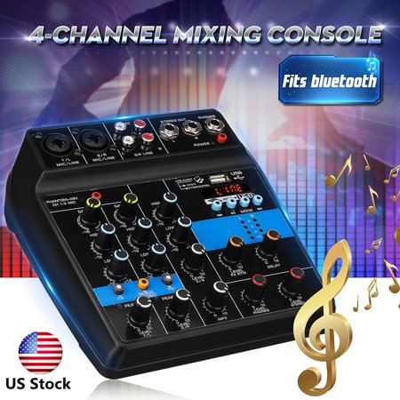 Mini Premium Audio Mixing Console Audio Mixer Amplifier Amp Bluetooth Studio Mixer Board 48V Phantom Power 110-220V 4 Channels USB