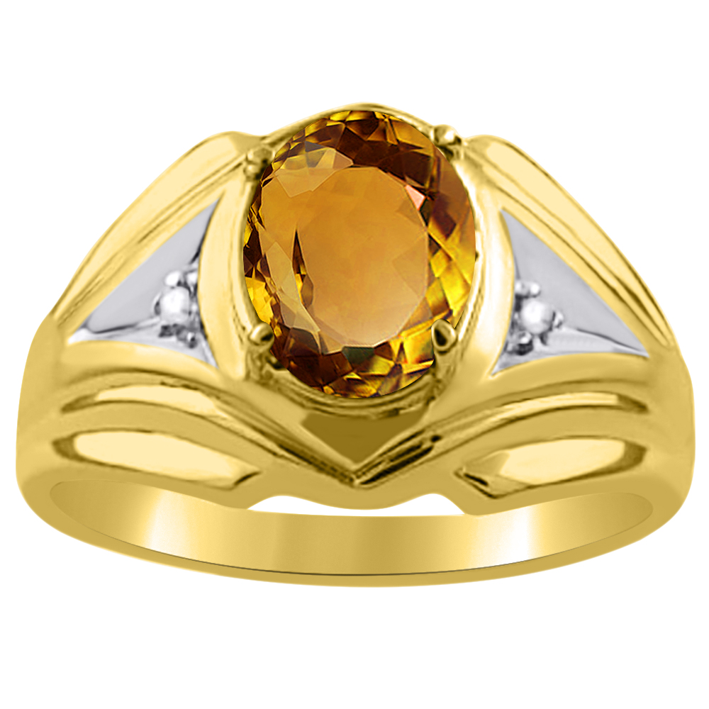 Mens Diamond & Citrine Ring 14K Yellow or 14K White Gold by Elie Int.