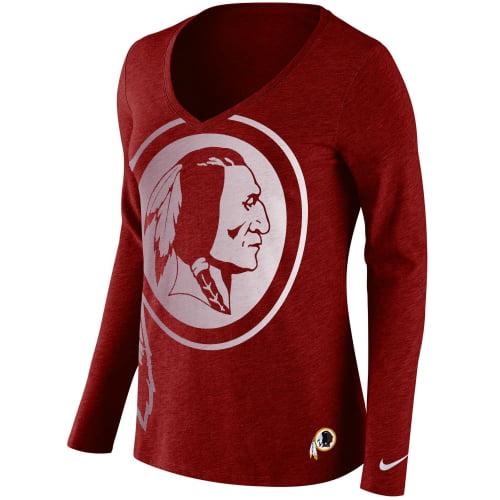 Washington Redskins Nike Women's Logo Wrap Tri-Blend V-Neck Long Sleeve T-Shirt - Burgundy