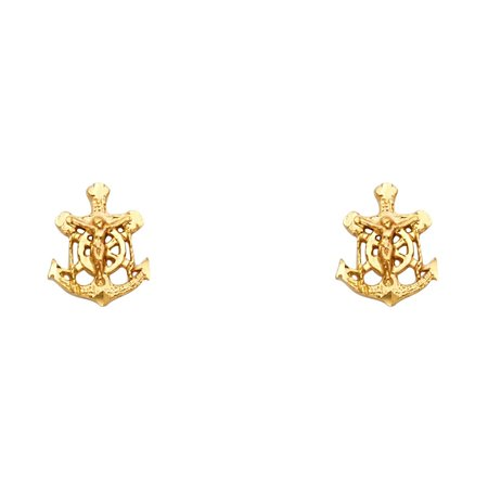 Jesus Anchor Cross Stud Earrings Solid 14k Yellow Gold Mariner Crucifix Post Studs Fancy 11 x 8 mm