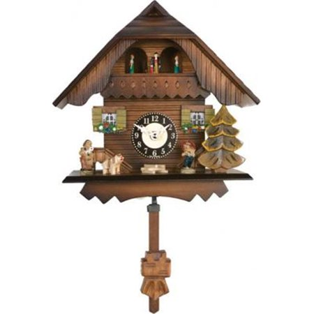 Quartz Cuckoo Clock - Painted Chalet with Dancers - Wesminster Chime or Cuckoo Sound