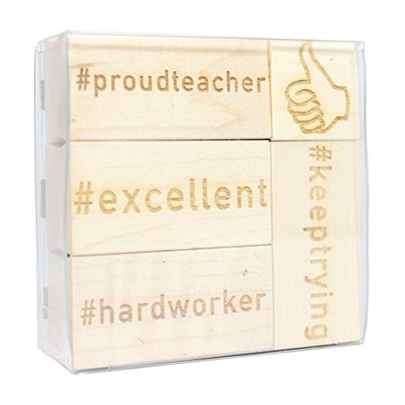 Teacher Engraved Wood Rubber Stamp Set - 5 (Teacher Rubber)