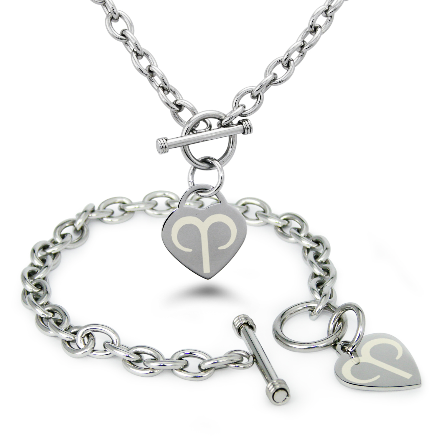 Stainless Steel Aries Astrology Symbol Heart Charm Toggle Bracelet & Necklace