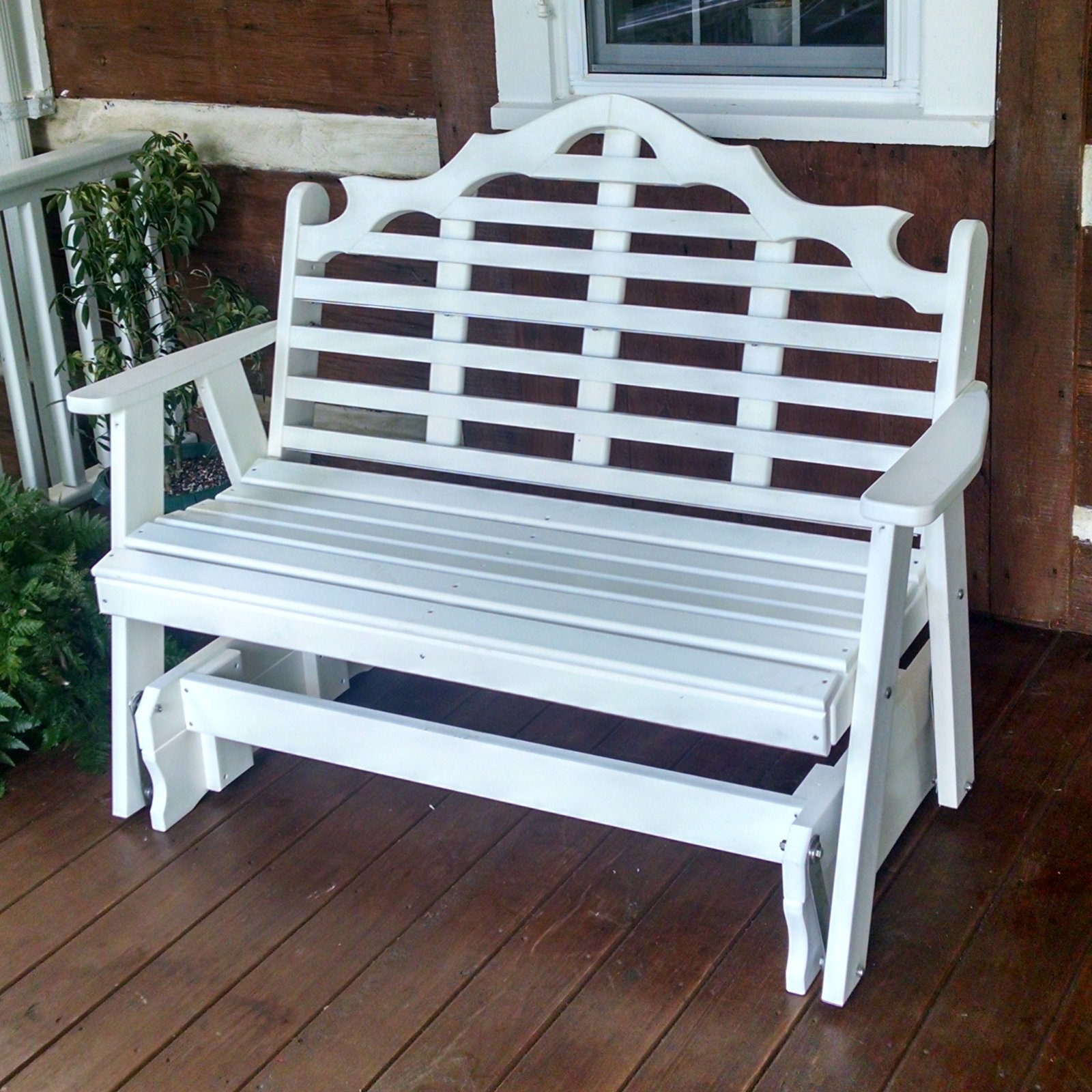 A & L Furniture Marlboro Poly Recycled Plastic Bench Glider