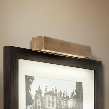 """Possini Euro Design Ralston 14"""" Wide Antique Brass Plug-In Picture Light"""