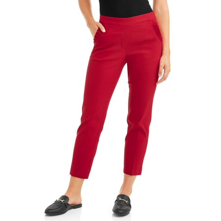 Women's Luxury Ankle Pull On Ruffle Pocket Pant (Express Womens Pants)