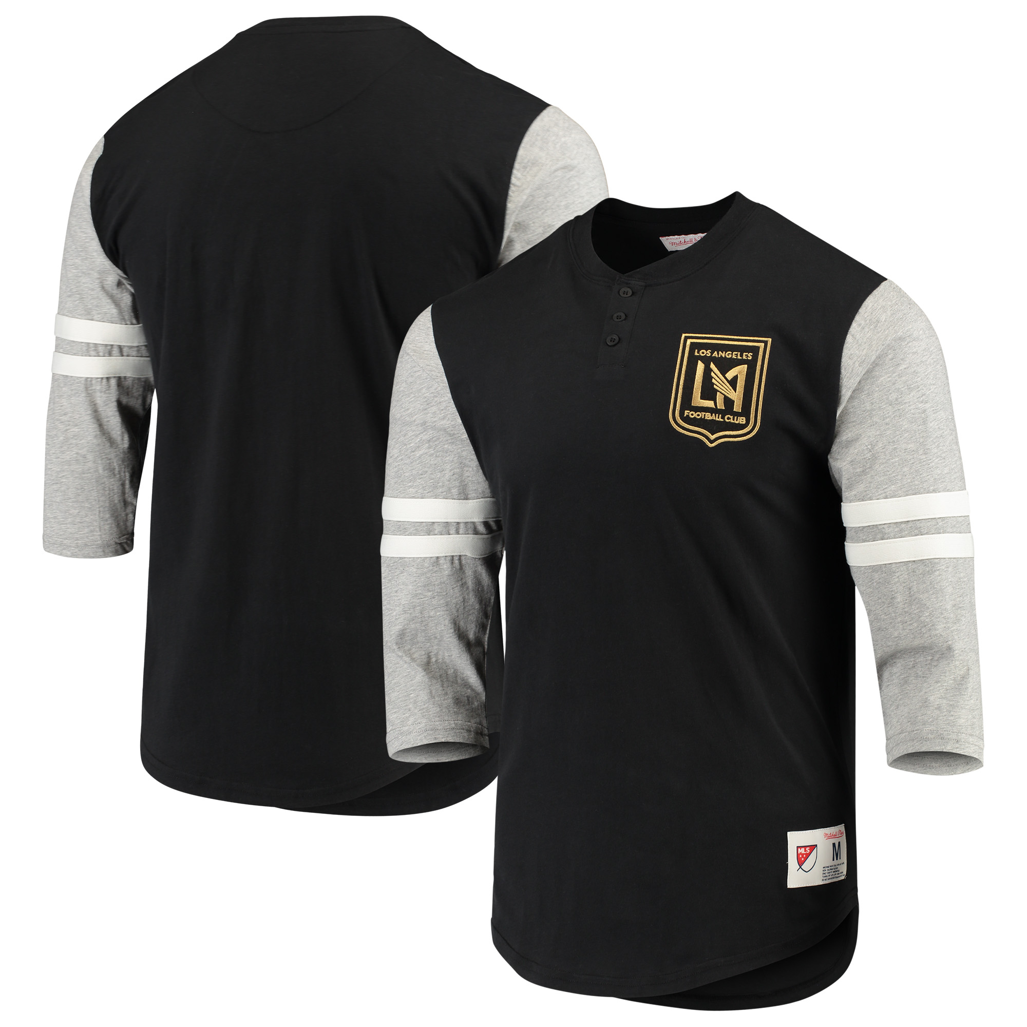 LAFC Mitchell & Ness Henley 3/4 Sleeve T-Shirt - Black