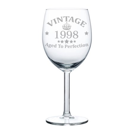 Wine Glass Goblet 21st Birthday Vintage Aged To Perfection 1998 (10 oz)