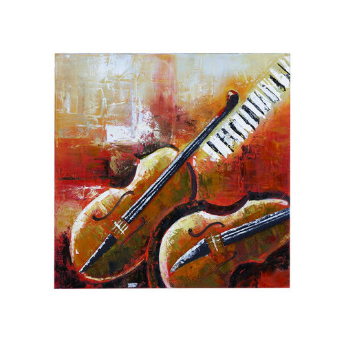 Woodland Imports Violin Painting Print on Canvas