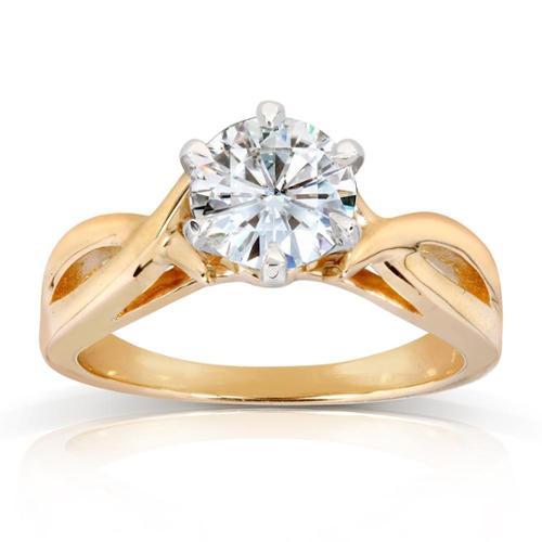 Annello  by Kobelli 14k Yellow Gold 1 Carat 6-prong Round Moissanite Solitaire Crossover Engagement Ring