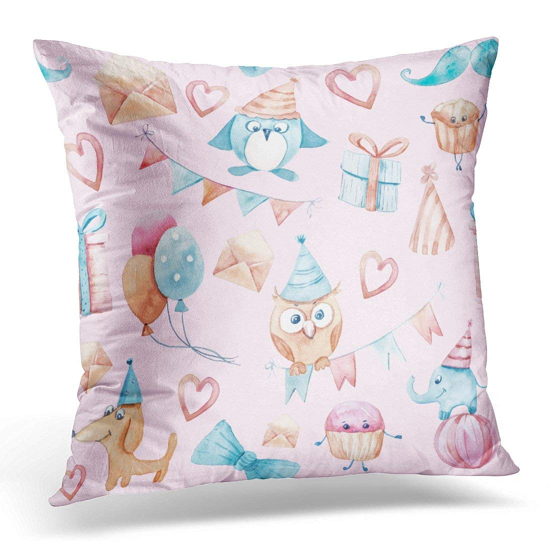 CMFUN Blue Bird Watercolor on Pink Hand with Flags Garlands Dog Cakes Ice Cream Elephant Hearts Penguin Box Pillow Case Pillow Cover 20x20 inch