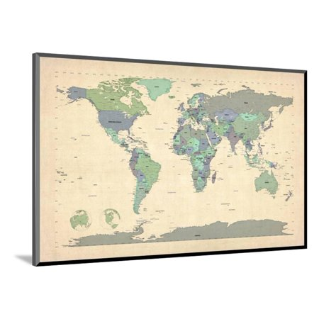 Mounted World Map.Political Map Of The World Map Wood Mounted Print Wall Art By