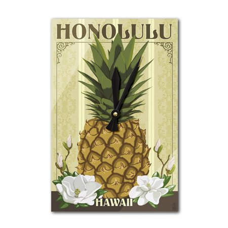 Honolulu, Hawaii - Colonial Pineapple - Lantern Press Artwork (Acrylic Wall Clock)