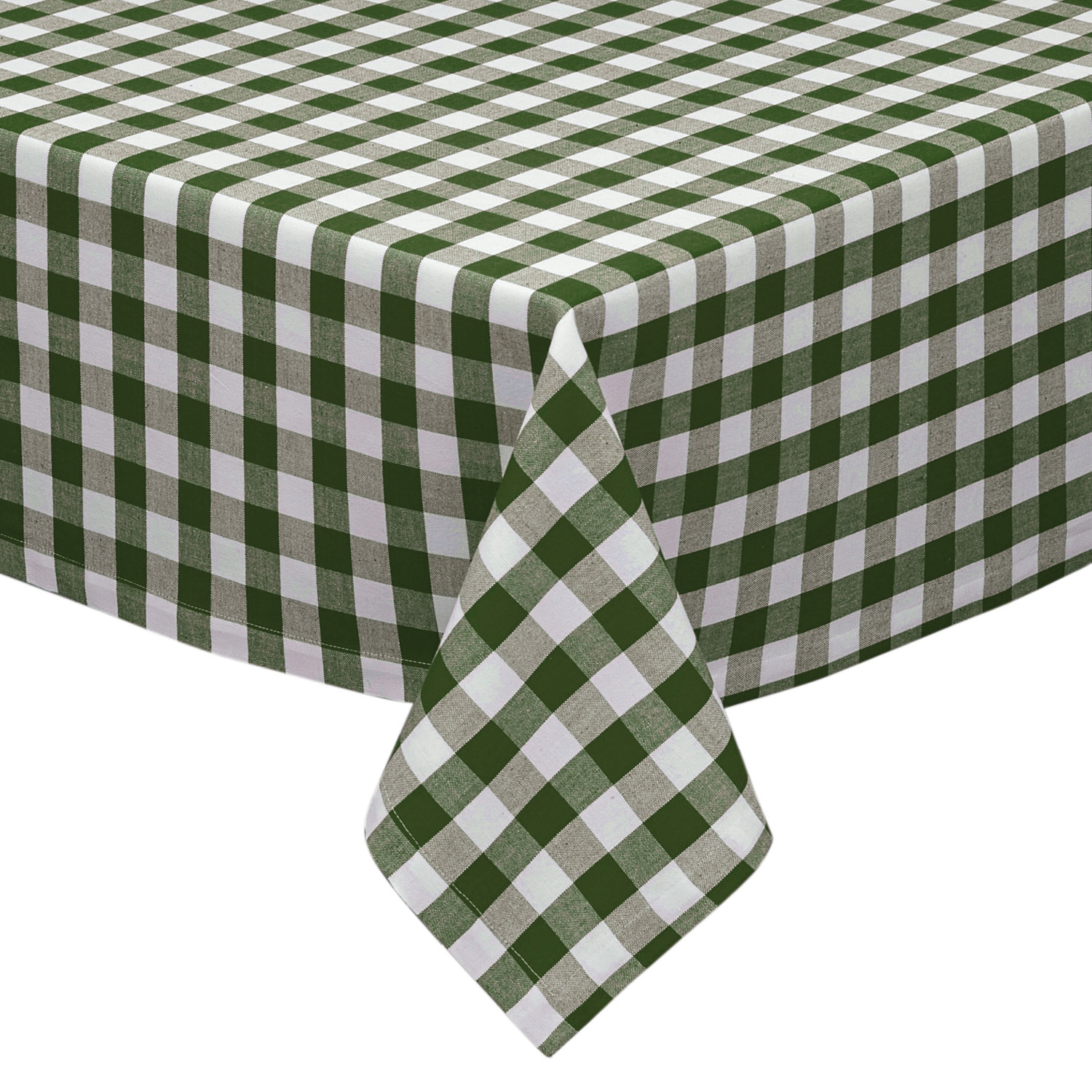 Sage And White Cotton Rich Checkered Kitchen/Dining Room Tablecloth:  Gingham/Plaid Design