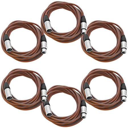 - Seismic Audio 6 Pack of 25 Foot Brown XLR Patch Cables Microphone Cords - 3 Pin XLRM to XLRF - SAXLX-25Brown-6Pack