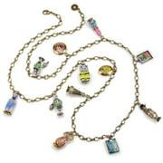 Sweet Romance  Vintage Glass Perfume Bottle Charm Necklace