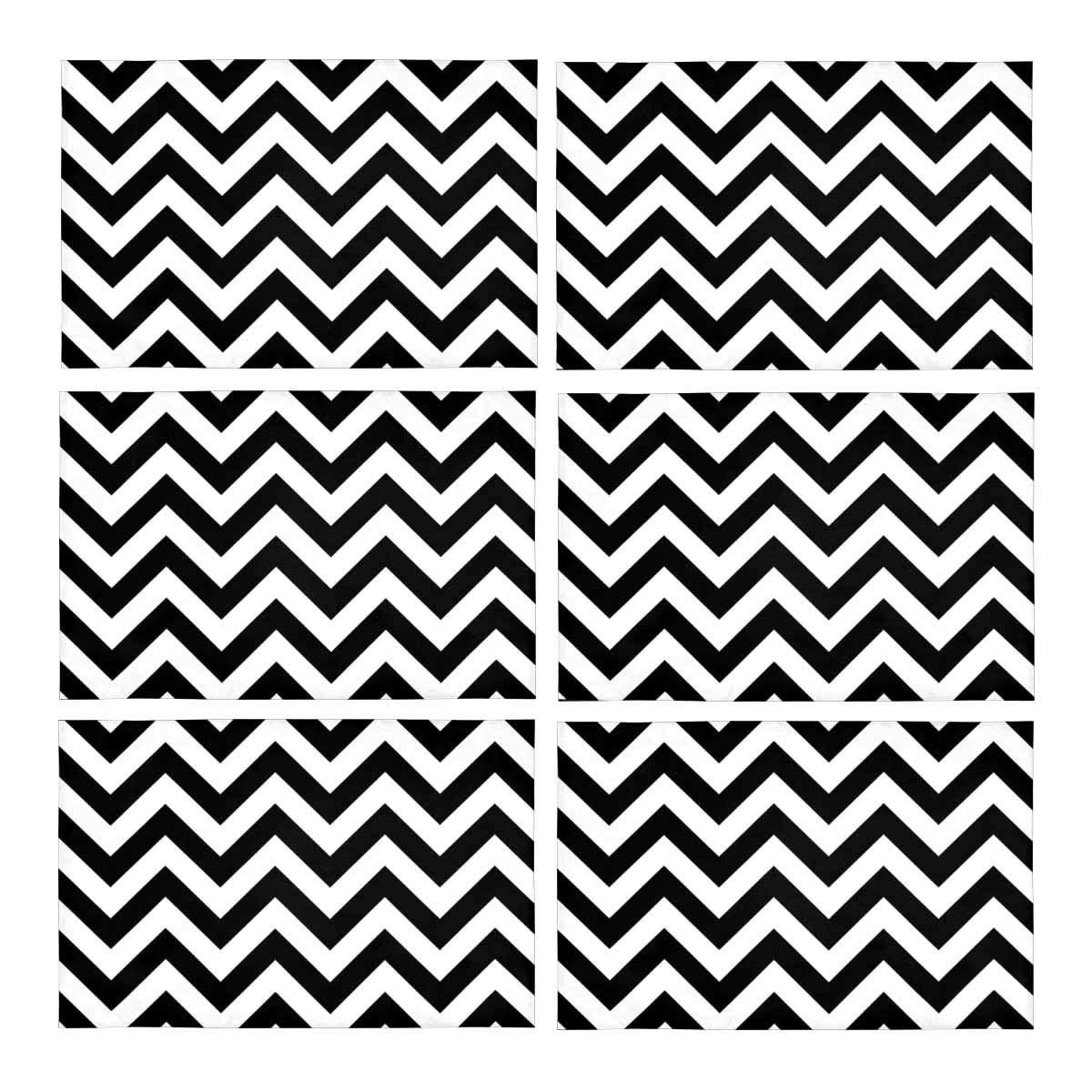 Zig Zag Kitchen: MKHERT Fashion Chevron Zig Zag Black And White Placemats