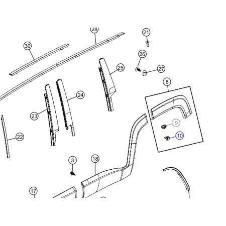 Mopar 68095315AA Flare Retaining Clip Jeep Renegade