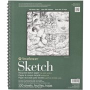"""Strathmore Sketch Paper Pad, 400 Series, Recycled, 11"""" x 14"""", 100 Sheets"""