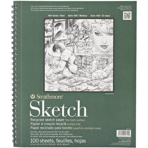 Strathmore Wire-Bound Sketch Pad - Recycled Paper - 11 x 14 inches - 100 Sheets