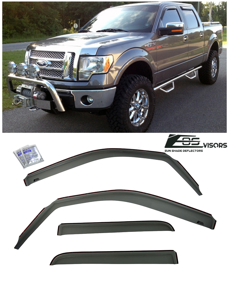 Replacement for Ford F-150 Regular Cab 2pcs Tape-On Window Visor Deflector Rain Guard
