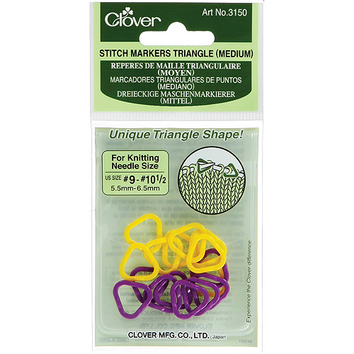 Clover Stitch Markers Triangle, Medium, Sizes 9 and 10.5, 16-Pack