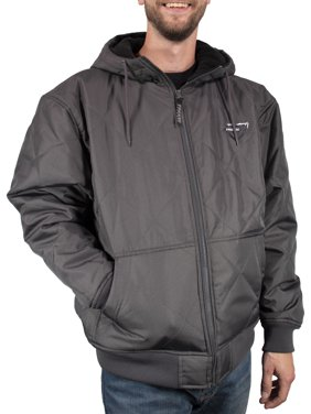 Freeze Defense Men's Fleece Lined Quilted Winter Jacket Coat (Small, Gray)