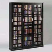 "Leslie Dame 62"" Sliding Door Inlaid Glass Multimedia Cabinet in Black"