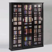 "Leslie Dame 62"" Sliding Door Inlaid Glass Multimedia Cabinet in Black"