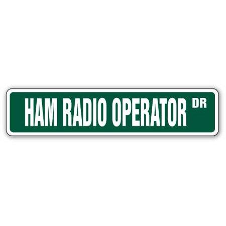 HAM RADIO OPERATOR Aluminum Street Sign 2 two way radios amateur   Indoor/Outdoor   18