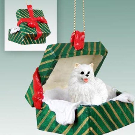 GGBD83 CON American Eskimo Miniature Gift Box Green Ornament
