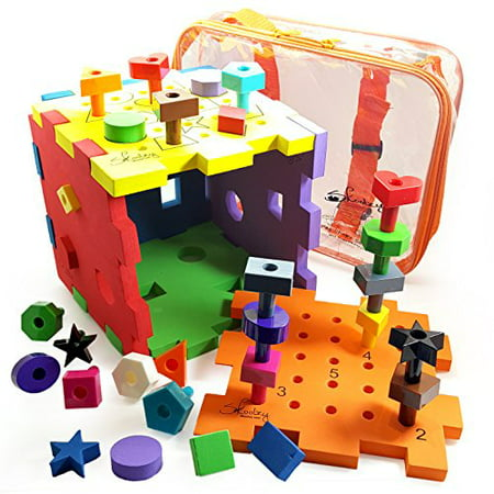 Shape Sorter Activity Cube Peg Board Set Busy Box by Skoolzy