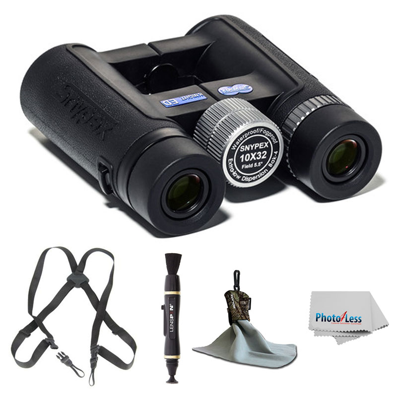 SNYPEX Optics New 2016 Knight 10x32 D-ED Compact Pocket Binoculars with Waterproof/Fog proof for Travelers, Safari, Concerts, Birdwatchers + Harness + Lens Pen + Cleaning Accessories + Valued Bundle