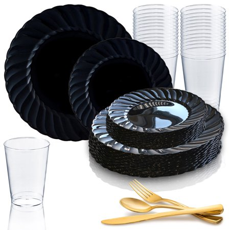 Dimmer Package - Kaya Collection - Black Disposable Plastic Dinnerware Party Package - 36 Person Package - Includes Dinner Plates, Salad/Dessert Plates, Gold Cutlery and Tumblers