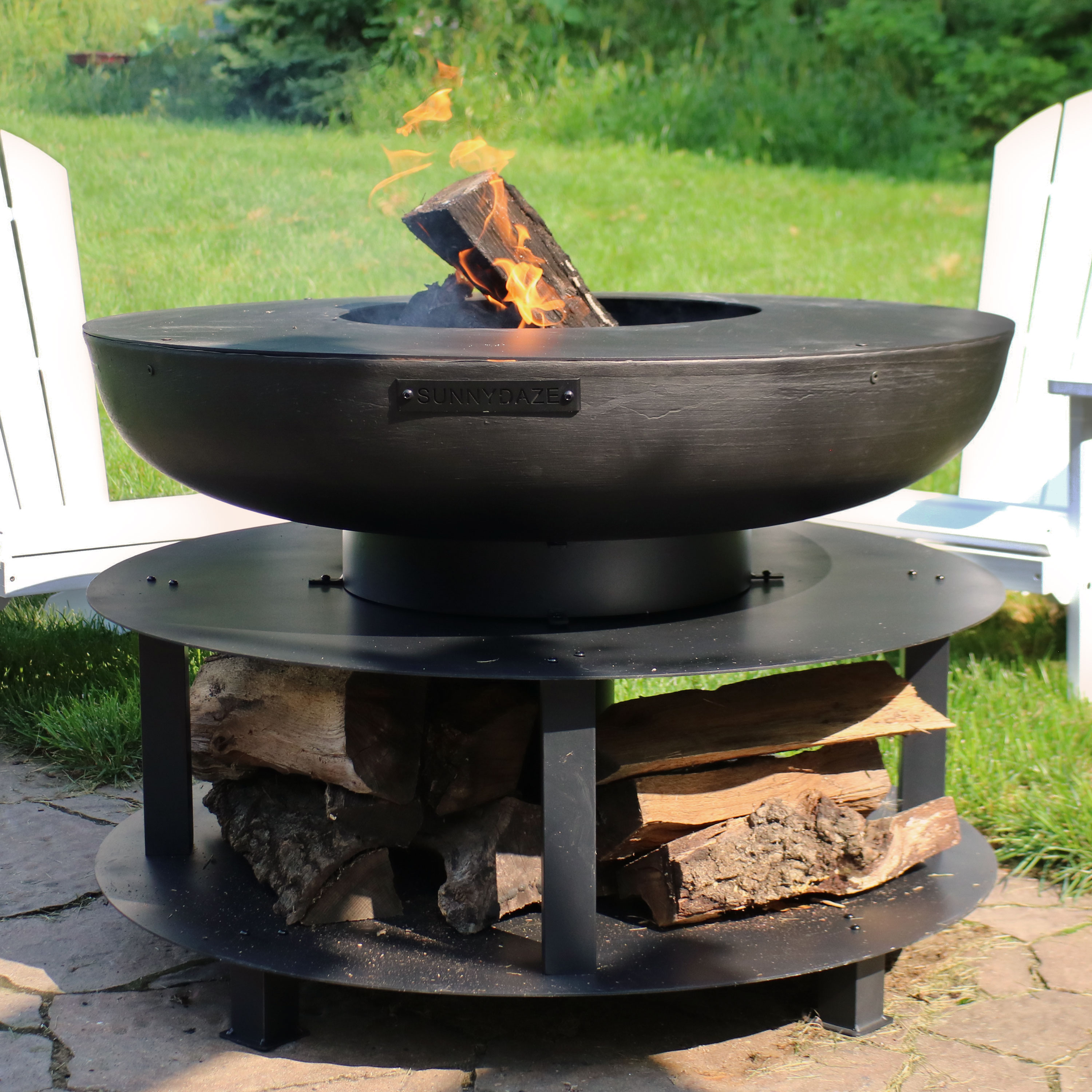 Sunnydaze Large Outdoor Fire Pit with Cooking Ledge and ...