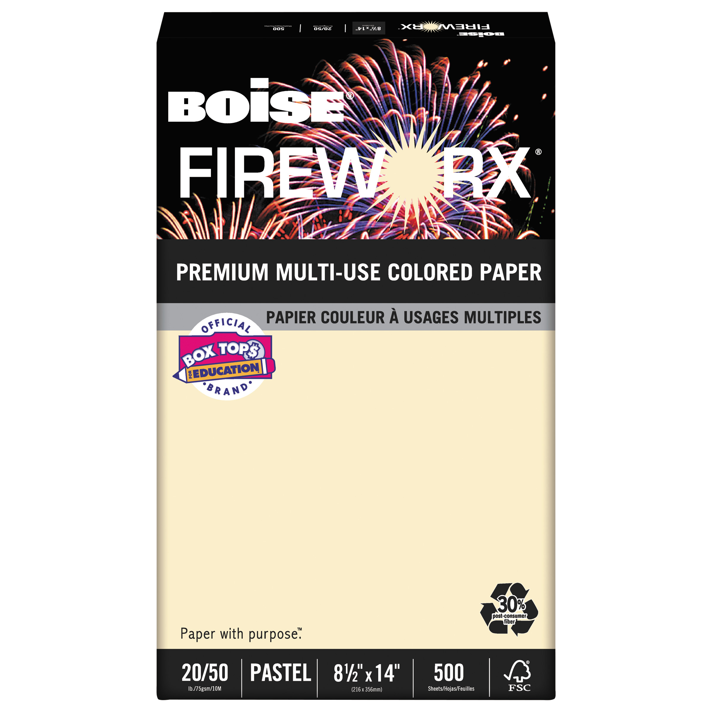 Boise FIREWORX Colored Paper, 20lb, 8-1/2 x 14, Flashing Ivory, 500 Sheets/Ream -CASMP2204IY