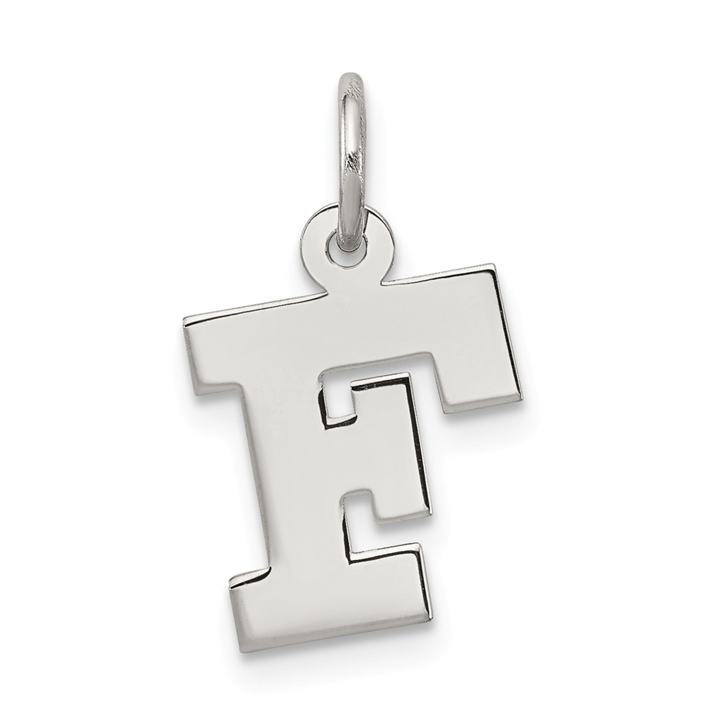 Sterling Silver Small Block Initial F Charm (0.6in long x 0.4in wide)