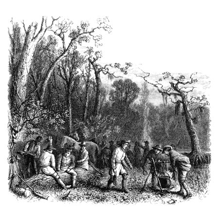 Francis Marion (1732-1795) Namerican Revolutionary Soldier And Commander Fancis Marion Known As The Swamp Fox And His Men At Their Camp In South Carolina During The American Revolutionary War Wood Eng