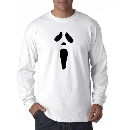 Trendy USA 983 - Unisex Long-Sleeve T-Shirt Ghost Face Scream Halloween Spooky Scary Large - Scary White Face